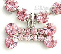 Wholesale quot dog rhinestones necklace with bone pendant pet collar