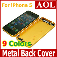 Wholesale For iphone5 Battery Cover Case Metal Back Housing shell Colors with Middle Plate Bezel Frame for iphone G