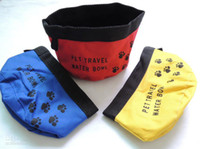 Wholesale Dog bowl portable travel folding pet bowl Polyester Oxford Oxford with waterproof cloth dog feeding