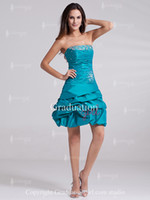 Model Pictures Strapless Taffeta Lovely 2013 Teal strapless short mini A-line corset graduation dresses cocktail homecoming gowns prom party