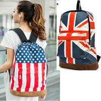 Wholesale Unisex Canvas Handbag Olympic American US UK Flag Star Banner Backpack School bags Schoolbag H9396
