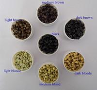 1 lot-1000pièces 5.0mm * 2.8mm * 3.0mm Micro Bagues silicone / Liens / Perles pour les extensions de cheveux trousse d'outils 7 couleurs en option