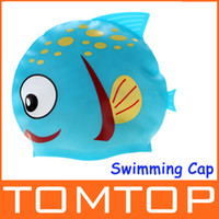 Wholesale Cute Cartoon Fish Durable Flexible Silicone Swim Swimming Cap Hat for Children Kids Blue H9380