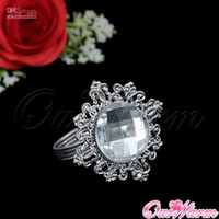 Wholesale Pieces Pure White Diamond Gem Napkin Ring Serviette Holder Wedding Party Dinner Tab