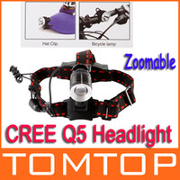 Wholesale 500Lm CREE Q5 Zoomable LED bike bicycle Headlight Headlamp bike light Hat Light H9335