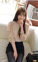 Casual Women Chiffon 2013 new women's chiffon Shirts, princess sleeve shirt collar women naked pink