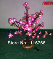 Artificial Plants pink  2013 Novelty gifts 2pcs ctn LED Real Bonsai tree Lights Pink Artificial Blossom lights table light decoration party