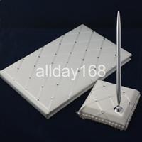 Wedding Party Supplies Accesorios compacto personalizada blanca de tipo diamante celosía boda Libro de visitas Pen