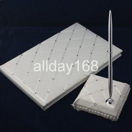 Bolígrafos personalizados boda en Línea-Wedding Party Supplies Accesorios compacto personalizada blanca de tipo diamante celosía boda Libro de visitas Pen
