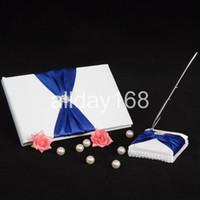 Wedding Party Supplies Accesorios compacto rhinestone personalizada cinta azul del diseño de la boda de la pluma Libro de visitas