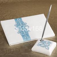 Wedding Party Supplies Accesorios compacto personalizada azul borda el diseño de la boda de la pluma Libro de visitas