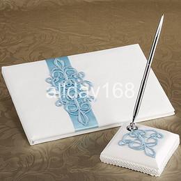Bolígrafos personalizados boda en Línea-Wedding Party Supplies Accesorios compacto personalizada azul borda el diseño de la boda de la pluma Libro de visitas