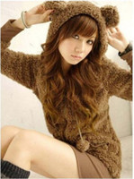 Waist_Length bear ears coat - 2013 High Quality Cute Lolita Comfy Bear Ear Hoodie coat colours