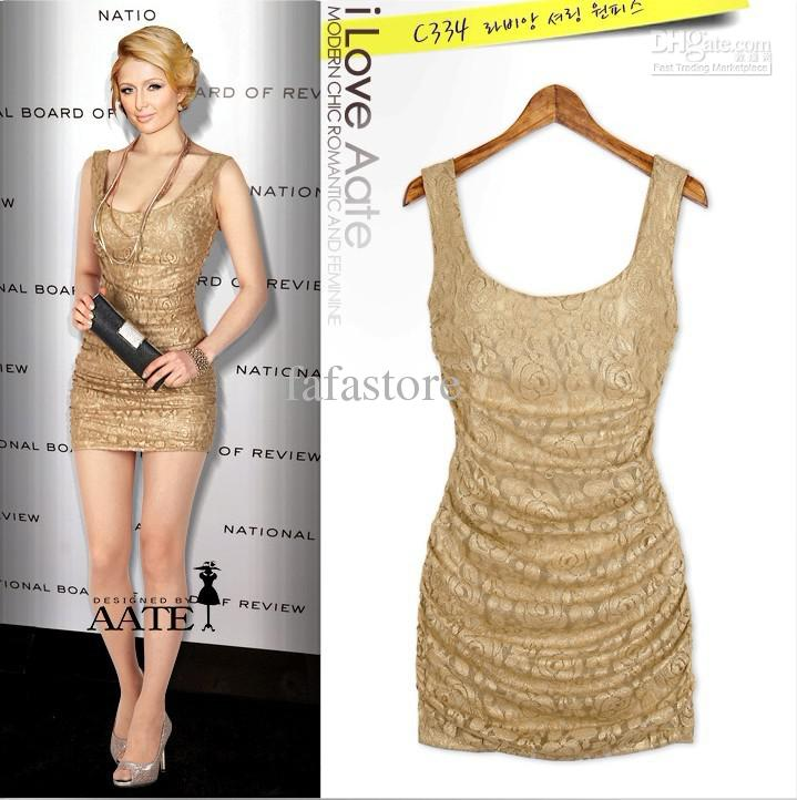 2013 Wash Gold Women's Sexy Lace Party Mini Dress  Package Hip ...