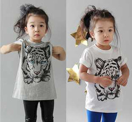 Wholesale 2013 New summer Kids Boys Girls shirt cotton modal t shirt Korean tiger pattern T shirt round neck shirt short sleeved white clothes gray
