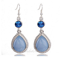 Wholesale New Womens Ocean Blue Teardrop JADE Crystal Drop Dangle Earrings w Silver Hook Gift CE20