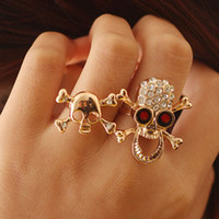 Wholesale Full diamond skull rings fashion European and American two finger opening ring jewelry LY J202