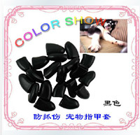 Cheap 100pcs black XXL size Soft Pet Dog Cat Kitten Paw Claw Control Nail Caps Covers+Adhesive Glue