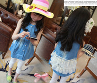 Wholesale Summer Kids dress Korean lovely fair maiden The cake layer lace fake pocket short paragraph cowboy girls vest skirt children dresses