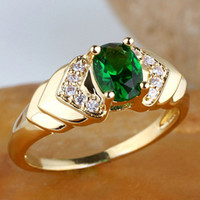 Wholesale Women s Oval Green Emerald V K Gold Filled Ring R120 GFL Size J8124 amazing price