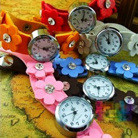 Wholesale Mixed color plum style leather belt Women new arrival wrist WATCH Watches Fashionable QUARTZ WATCH
