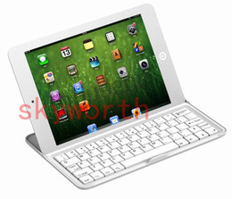 Wholesale Wireless Bluetooth Aluminium Keyboard Case Cover for iPad mini retina air ipad Stand with retail package