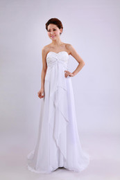 Wholesale Hot Sale White Strapless Sweetheart Appiqued Ruffled Chiffon In Stock Wedding Dresses Beach Wedding Dress US2