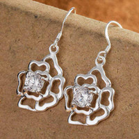 Silver European Women's Fashion 925 silver Shining Diamond Flower Lovely Pendant Dangle Earrings 42pairs Free shipping