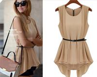 Wholesale New Women Dress Retro Slim Waist Sleeveless Chiffon T Shirts European and American Style piece