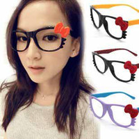 Wholesale New trendy cute candy color cat glasses frame women loving bowknot eyeglass frame t5163