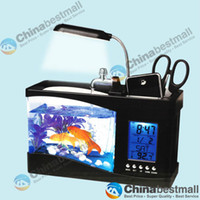 Wholesale Multifunctional Fish Tank with Calendar Thermometer Pen Holder with Pumming to Auto Cycling Water