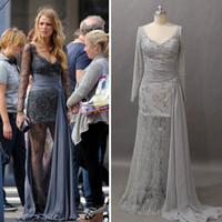 Sheath/Column gossip girl - 2013 Celebrity Dresses Inspired by Gossip Girl Blake Lively Zuhair Murad with Sheer Lace Long Sleeve dhyz buy get free Necklace
