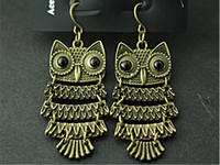 Wholesale Vintage Owl Earrings Bronze Silvery Owl Drop Earrings Hot Sale Pair ER158