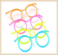 Wholesale Colorful Children Kids Funny flexible Soft Glasses Straw Glasses Drinking Tube Fun Drinkware