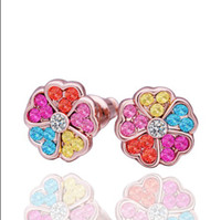 Wholesale Plated K rose gold Swarovski Elements crystal flower stud earrings fashion jewelry Top quality pair