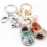 Zinc Alloy automobile antique - Lovely embroidered shoes key chain alloy antique gold plating shining rhinestones automobile and fashion bags key rings t5166