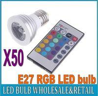 Wholesale 50X Energy Saving W E27 GU10 MR16 RGB E14 LED Bulb Lamp light Color changing IR Remote