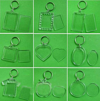 Photo Frame blank keyrings - DIY Photo Keychains Acrylic Blank Key Chains Insert Photo Plastic Keyring Rectangular Heart Round Shape