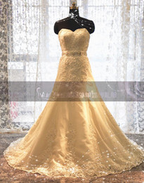 Actual Images Custom-Made New Sweetheart Strapless Wedding Dress with Beaded Lace Chapel train A-Line Wedding Dresses Bridal Dresses
