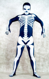 Wholesale Skeleton Pattern Dark Bue Lycra Spandex Material Full Body Halloween Costumes Zentai Suits