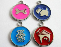 Wholesale 10pcs mm mixed style Dog Tag with mixed pattern hang Pendant CharmsFit Pet Collar