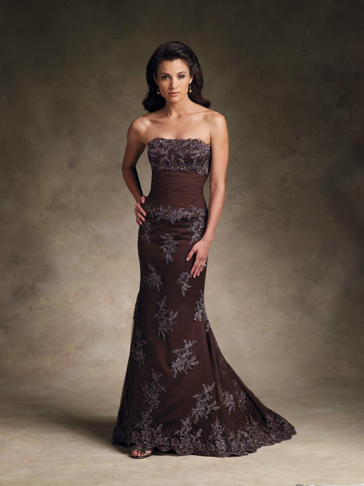Promotion Price!low Price Brown Evening Gowns Applique Ruffle ...