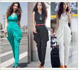 Wholesale 2013 new women s clothing OL jumpsuits women s clothing V collar short sleeve summer haroun pants show thin han edition style v neck sleevel