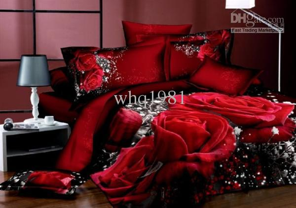 Unique 3d Red Rose Comforter Covers Queen King Size Girl