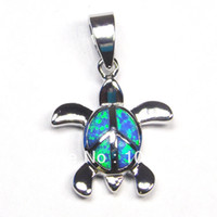 Wholesale blue opal jewelry with cz stone mexican opal pendant turtle pendant stamped