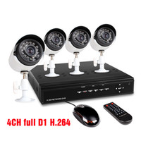Wholesale 4CH full D1 H DVR Security System with Four Indoor Outdoor Night Vision Surveillance Cameras