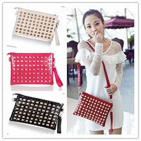 Wholesale Four Colors High Quality Fashion Korean Style PU Leather Rivets Women s Tote Shoulder Bags Handbag Evening Bag