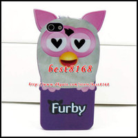 Wholesale 3D furby owl night bird cartoon Soft silicone TPU gel Case for iphone G G S animal cute skin cover rubber designer back fashion cases