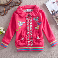 Wholesale F2879 Nova y y chidren coats baby girls jackets cotton French terry hoodies animal butterfly stass outwear for autumn winter