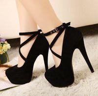 al por mayor sexy high heels-Envío libre 2016 de las mujeres atractivas del verano Bombas rojas de la vendimia Plataforma Flock Negro Moda de tiras los tacones altos zapatos de fiesta /
